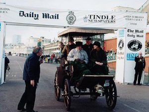 Our picture shows the finishing line at the London - Brighton Veteran Car Run