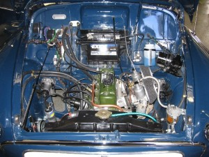 1963 Morris Minor Convertible following restoration which included a number of upgrades Here is the engine back in position in the newly repaired and painted body