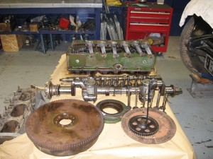 Alvis Speed 20 SA engine stripped down