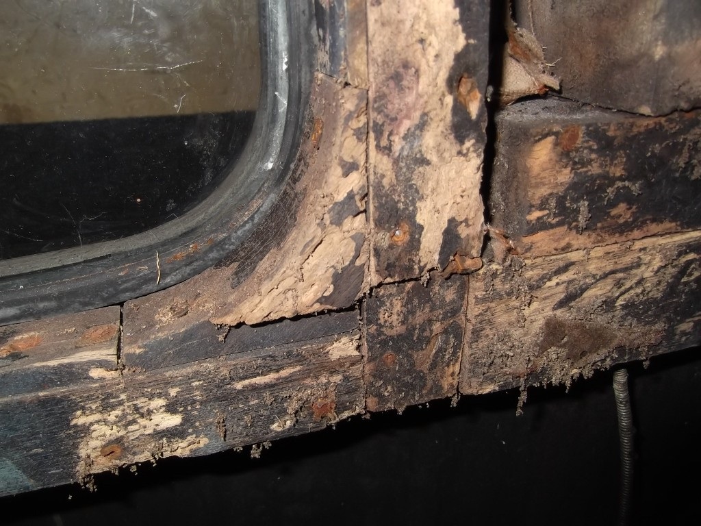 Rotten wood in the rear quarter prior to being replaced