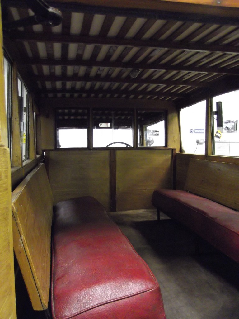 "The bench seats in ""the old bus"""