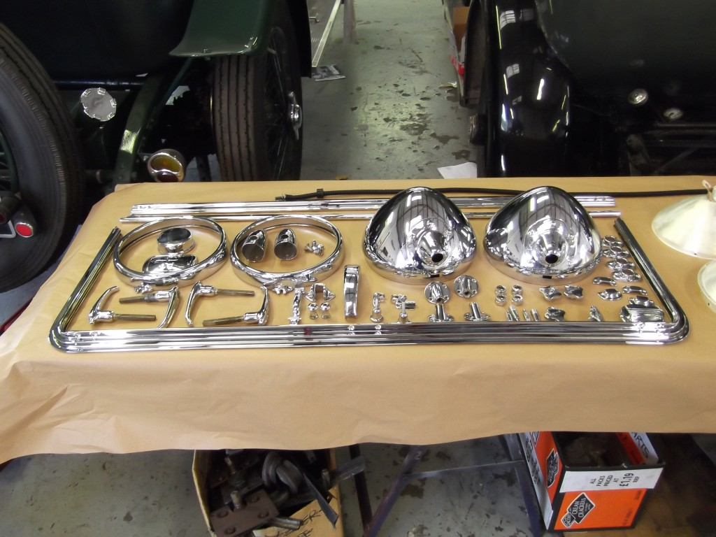Chrome is laid out prior to refitting