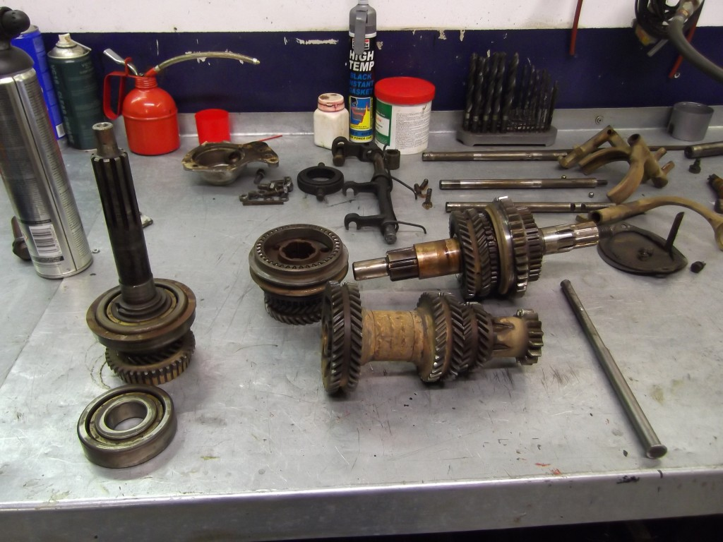 The gearbox is stripped for rebuilding