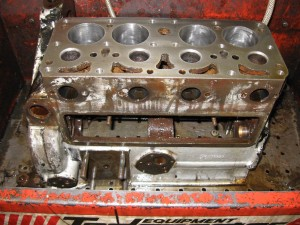 Degreasing the engine block following strip down