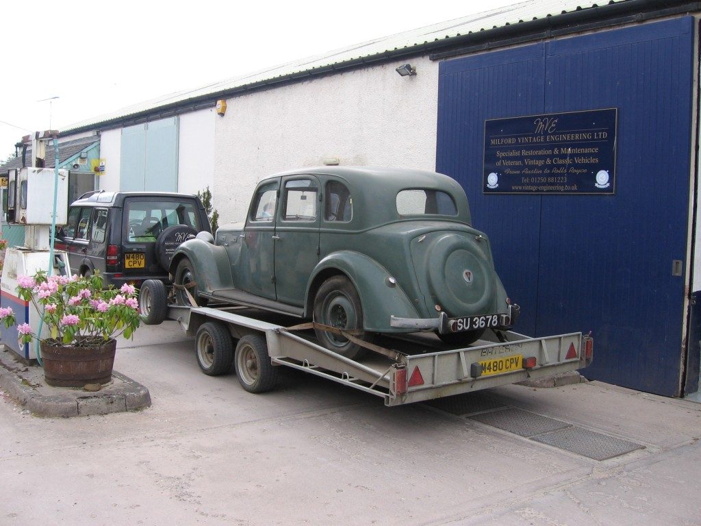1939 Rover 16 arriving at Milford Vintage Engineering