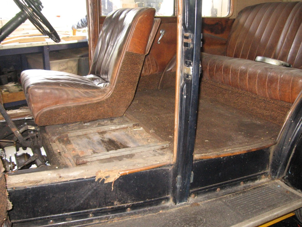 The interior of the car was stripped out