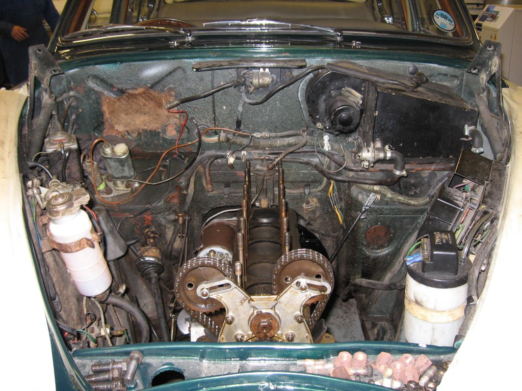 Engine bay, before