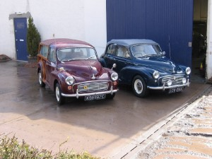 Morris Traveller and Morris Minor convertible ready for shipping to their owner in Australia