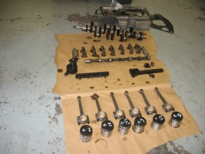 SS100 engine parts following stripping