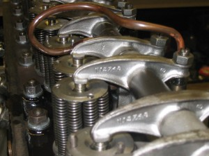 1934 Alvis Speed 20 SB - engine during rebuild (close up of valve springs and rockers)