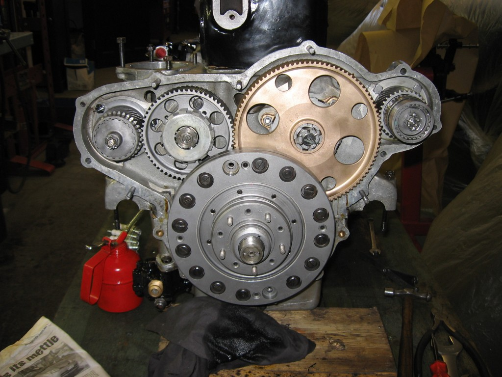 Engine timing gears during rebuild